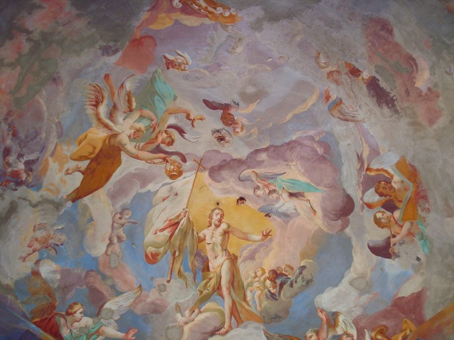 Tavanul bisericii din varful dealului, Kalvary, Banska Stiavnica, Slovacia