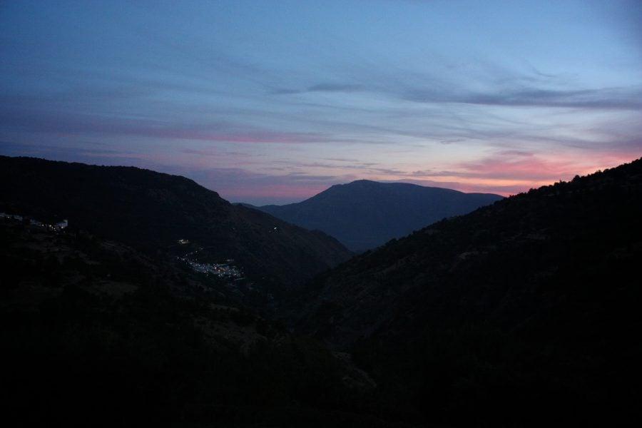 Priveliște asupra Bubion și Pampaneira, din Capileira, Alpujarra, Sierrna Nevada, Andalusia, Spania