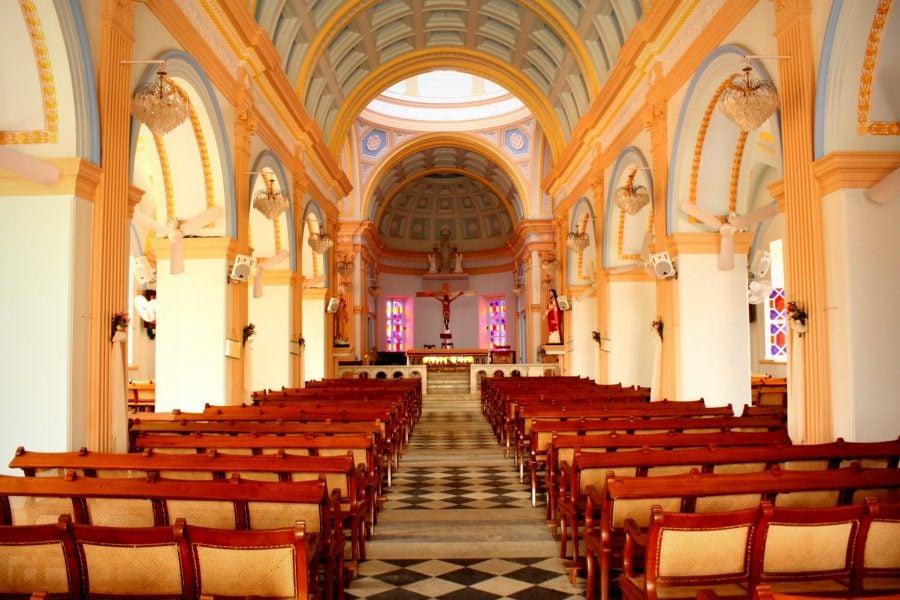 Notre-Dame des Anges, interior, Pondicherry (Puducherry), Tamil Nadu, India