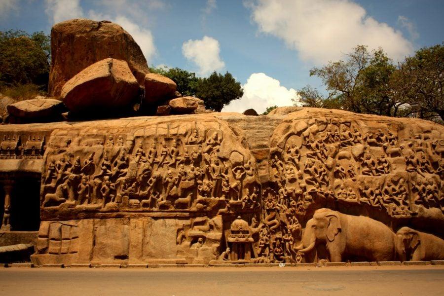 Penitența lui Arjuna, Mamallapuram, Tamil Nadu, India