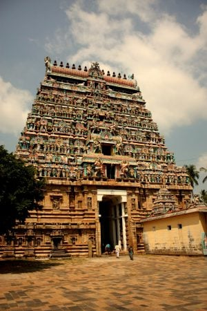 Poarta templului Nataraja, Thanjavur, Tamil Nadu, India