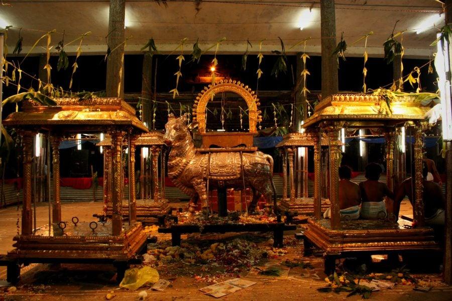 Sfârșitul ceremoniei, templul Nataraja, Chidambaram, Tamil Nadu, India