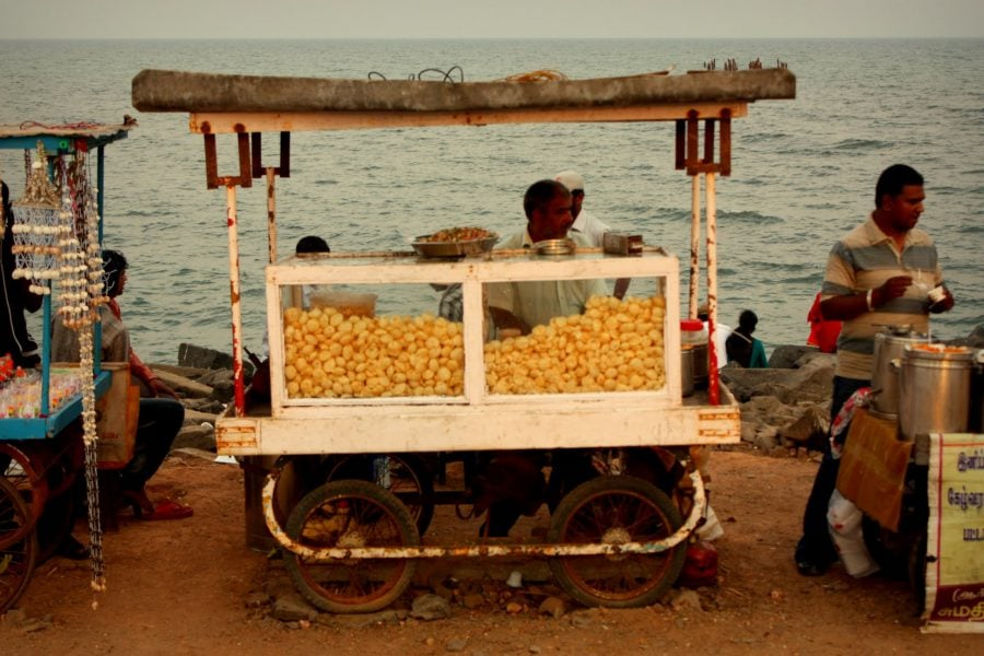 Tarabă ambulantă, Pondicherry (Puducherry), Tamil Nadu, India