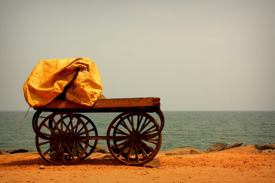 Tarabă mobilă goală în India, Pondicherry (Puducherry), Tamil Nadu