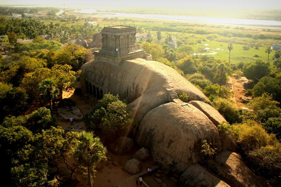 Vedere din farul din Mamallapuram, Tamil Nadu, India