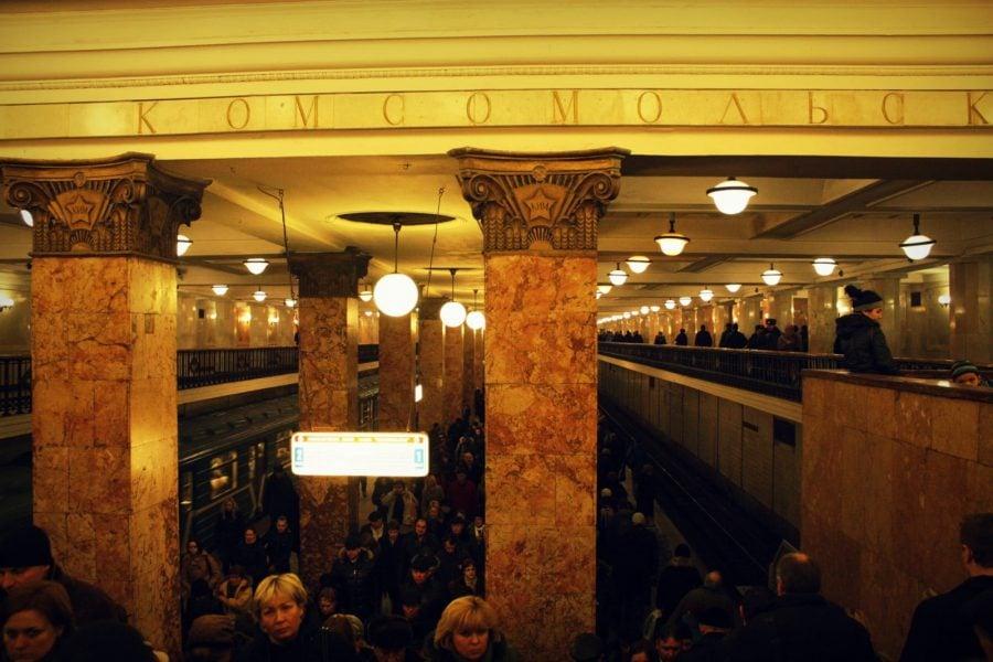 Aglomerație în stația Komsomolskaya, Moscova
