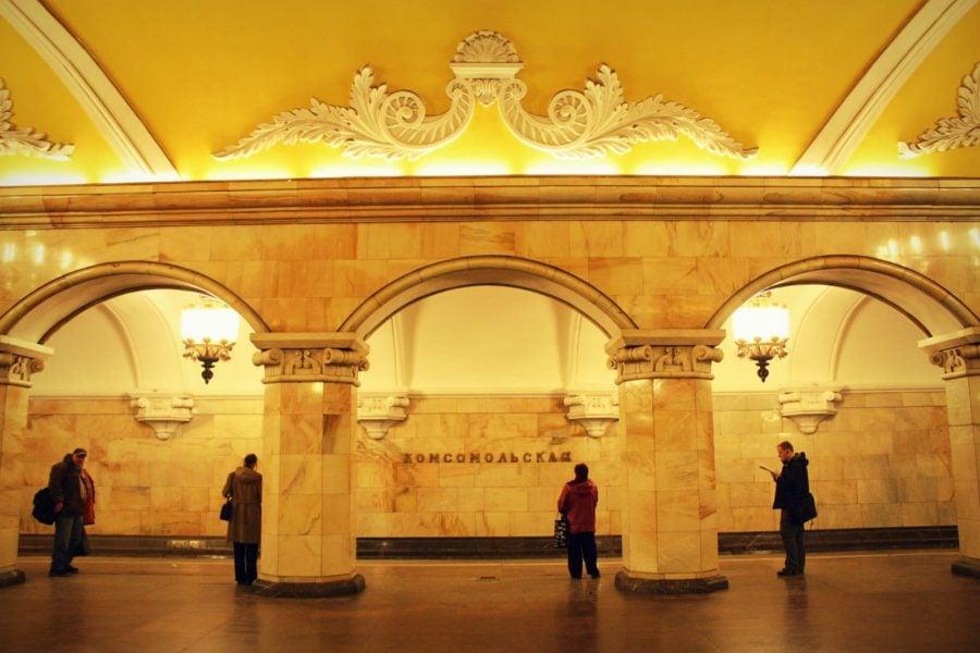 Stație metrou decorată în Moscova