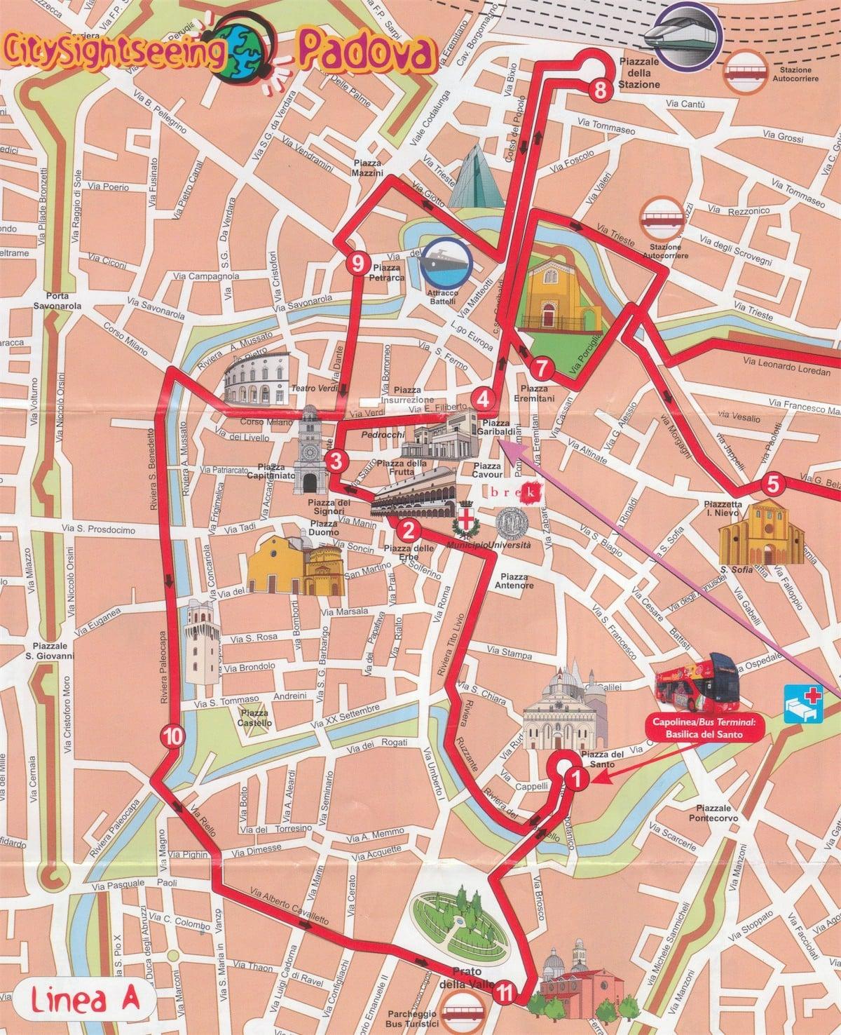 Hartă traseu turistic pentru o zi în Padova