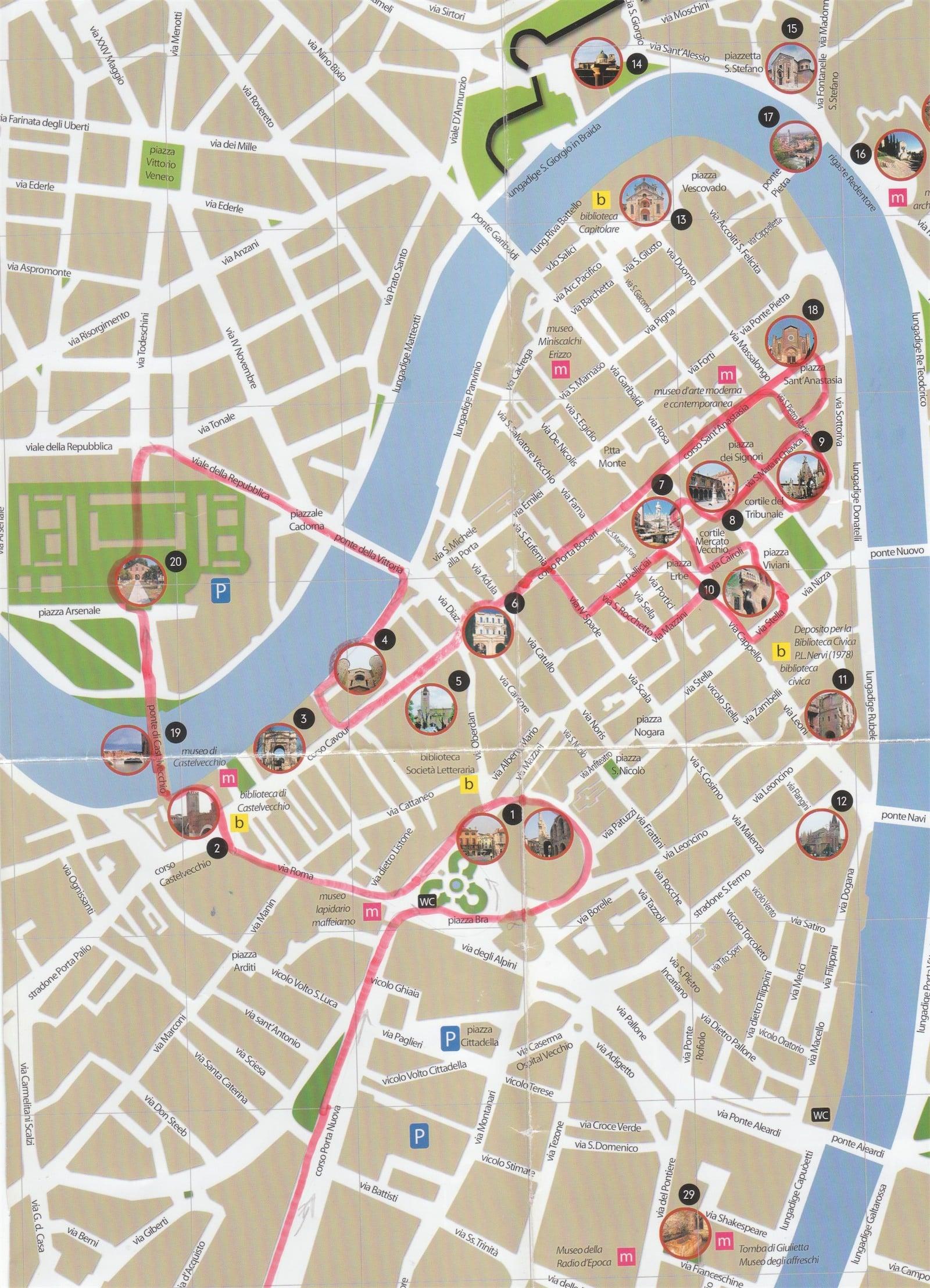 Harta turistica Verona