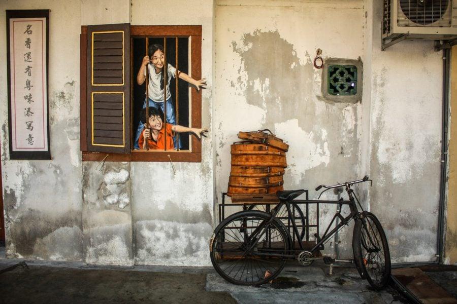 Penang Street Art - Copii la fereastră