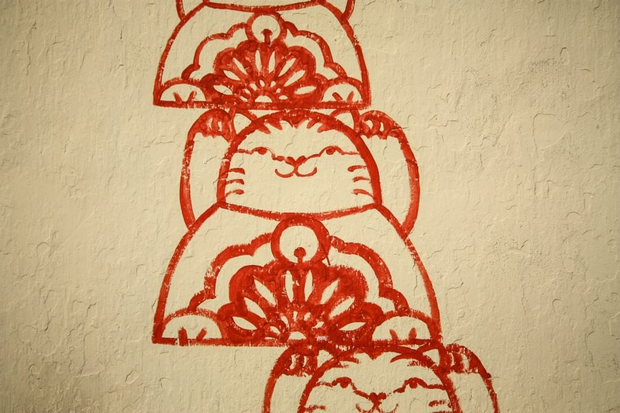 Penang Street Art - Pisică la templu (detaliu)