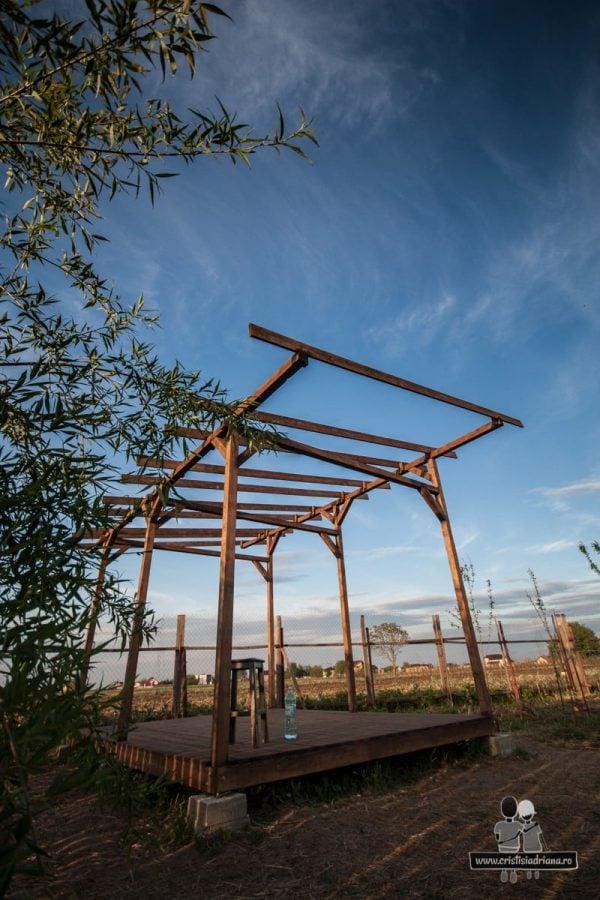 Foișor de lemn protejat cu lazură
