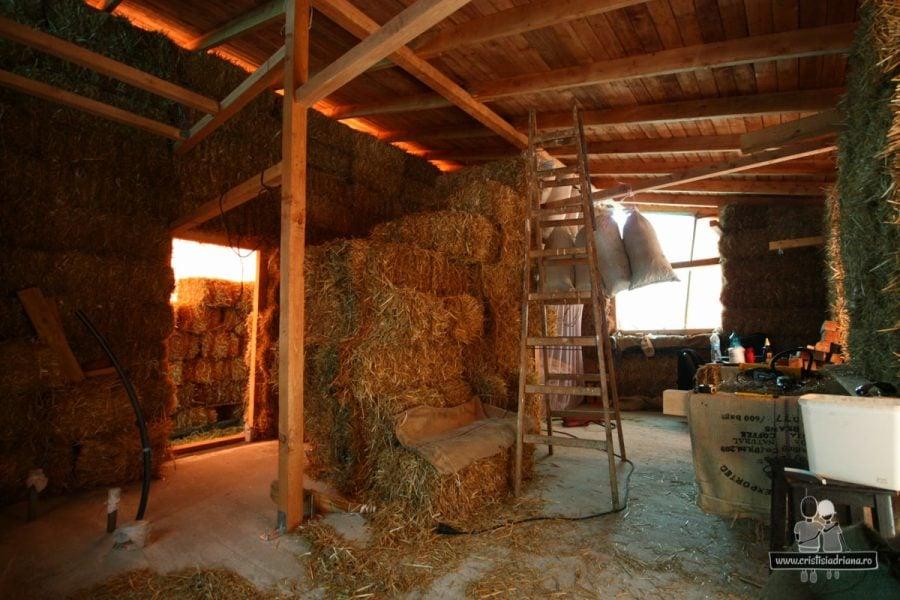 Interior casă din paie fara tencuială