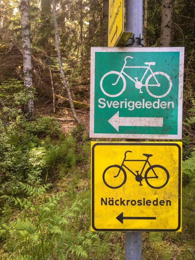 Semn traseu bicicletă Suedia