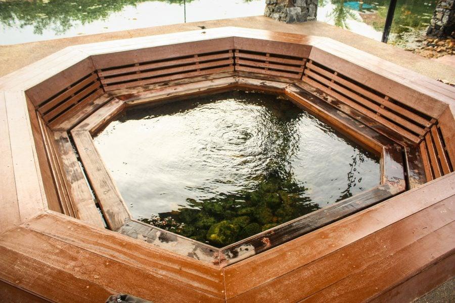 Jacuzzi rudimentar cu apă termală în Ayer Hangat Spa Village, Langkawi