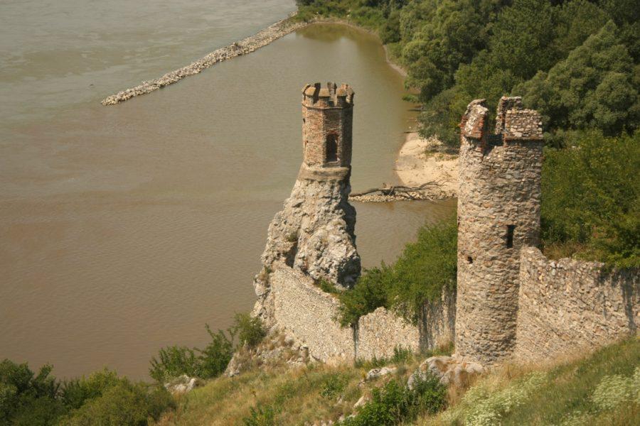 Dunărea și râul Morava, vedere din Castelul Devin, Slovacia