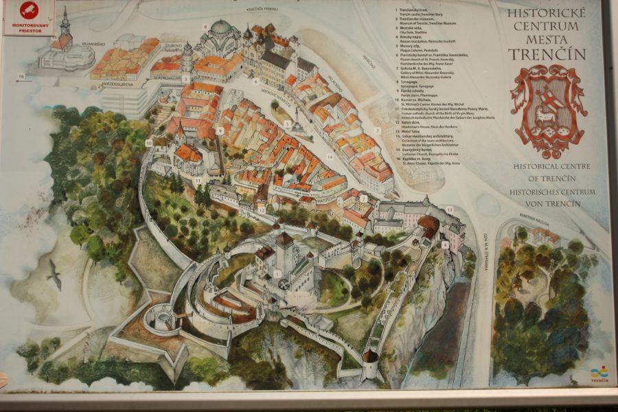 Harta orașului Trencin, Slovacia