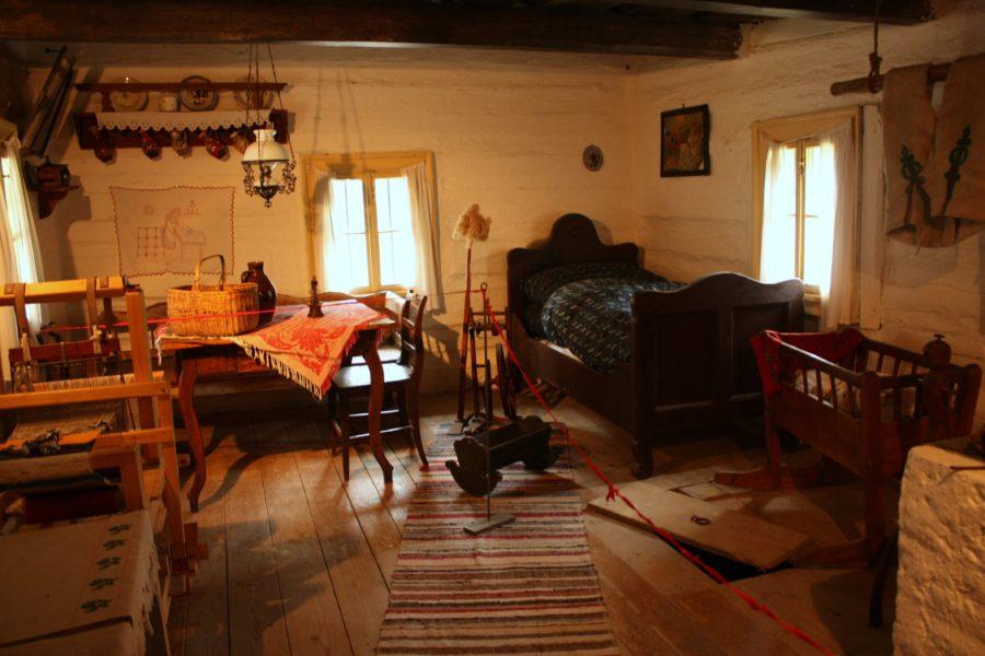 Interior casă în sat Vlkolinec, Slovacia