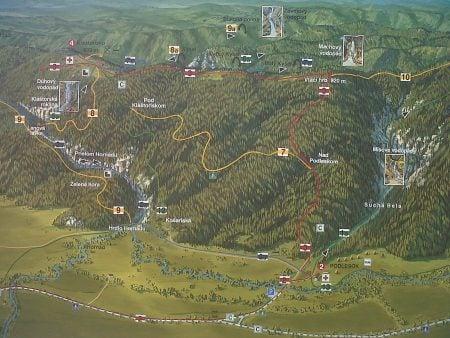 Hartă trasee Slovensky Raj din Podlesok