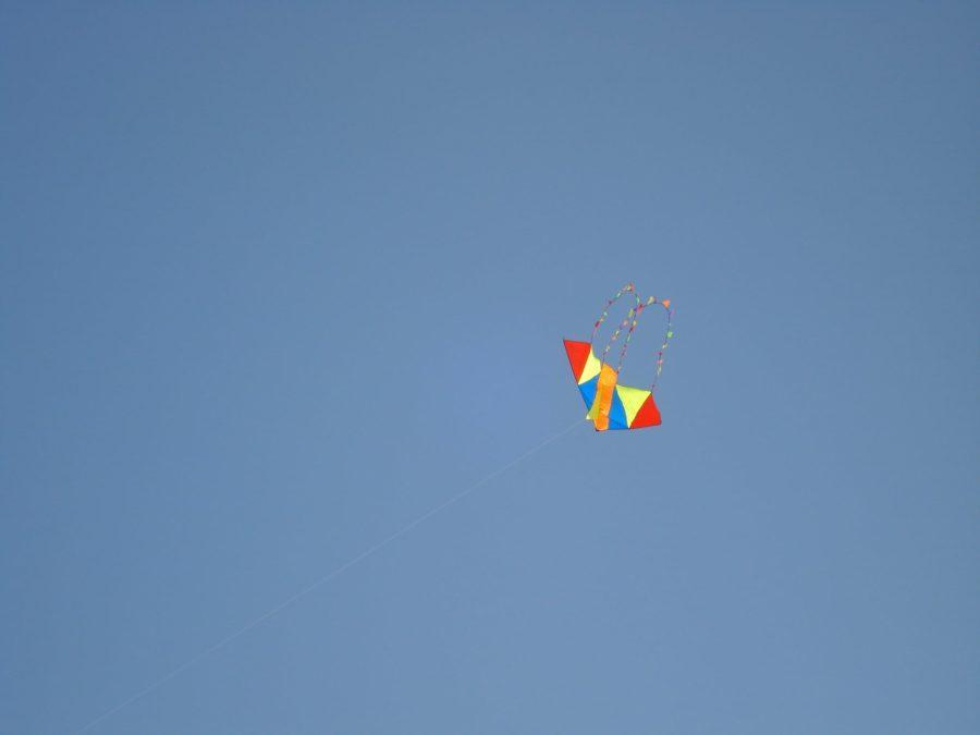 Zmeu în zbor pe cer senin la mare