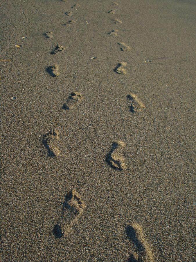 Pași pe nisip fin, plaja Vadu, Marea Neagră