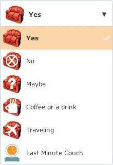 Status-ul canapelei pe CouchSurfing