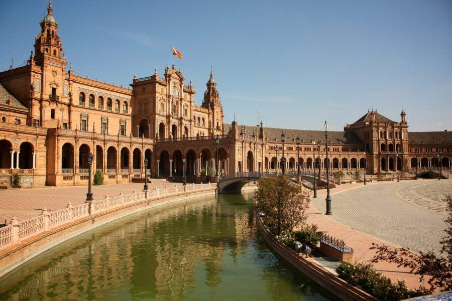 Piața Spania, râul și clădirea pavilionului, Sevilla