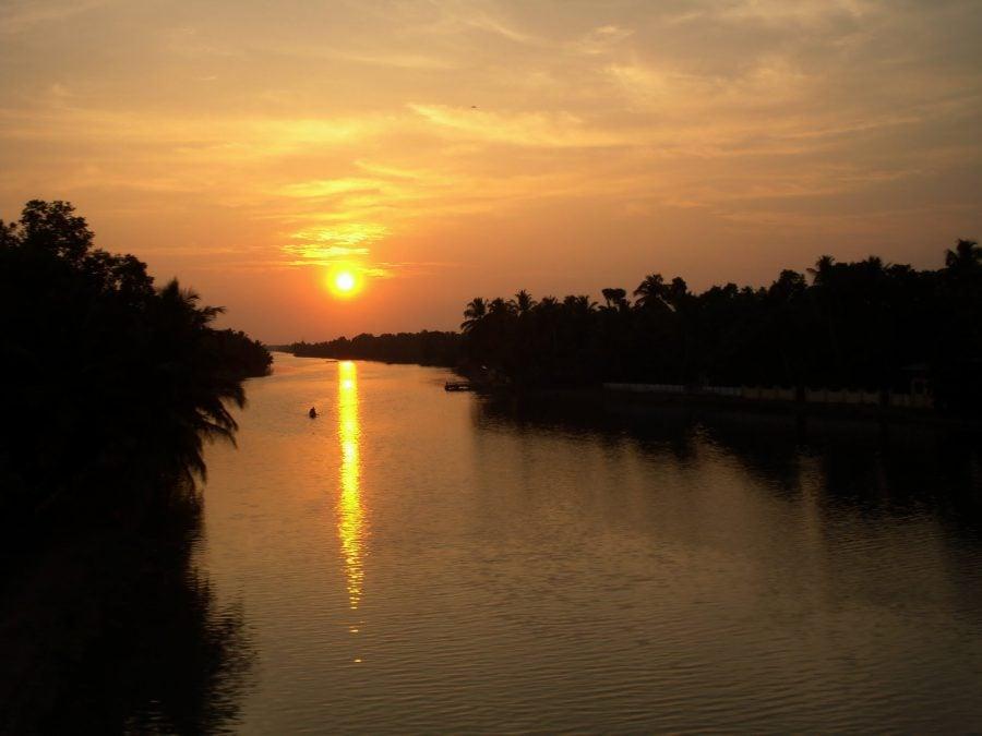 Apus portocaliu din trenul Varkala - Kovalam, Kerala, India