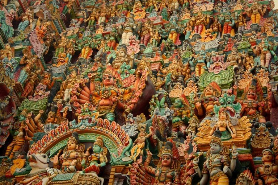 Detaliu poarta de vest, templul Sri Minakshi din Madurai, Tamil Nadu, India