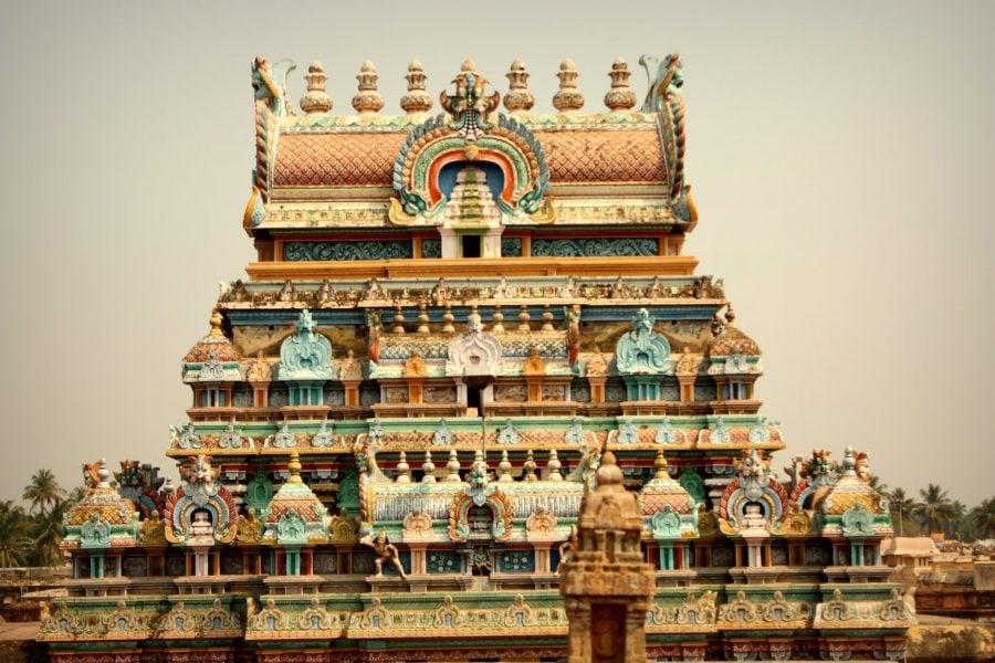 Detaliu poartă templu Ranganathaswamy, Trichy, Tamil nadu, India