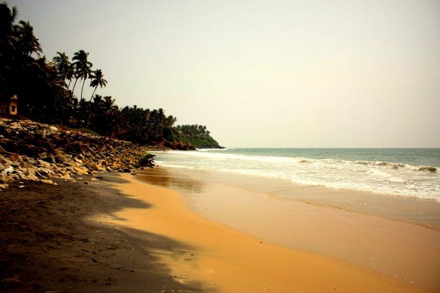 Plaja cu palmieri și nisip portocaliu în Varkala, Kerala, India