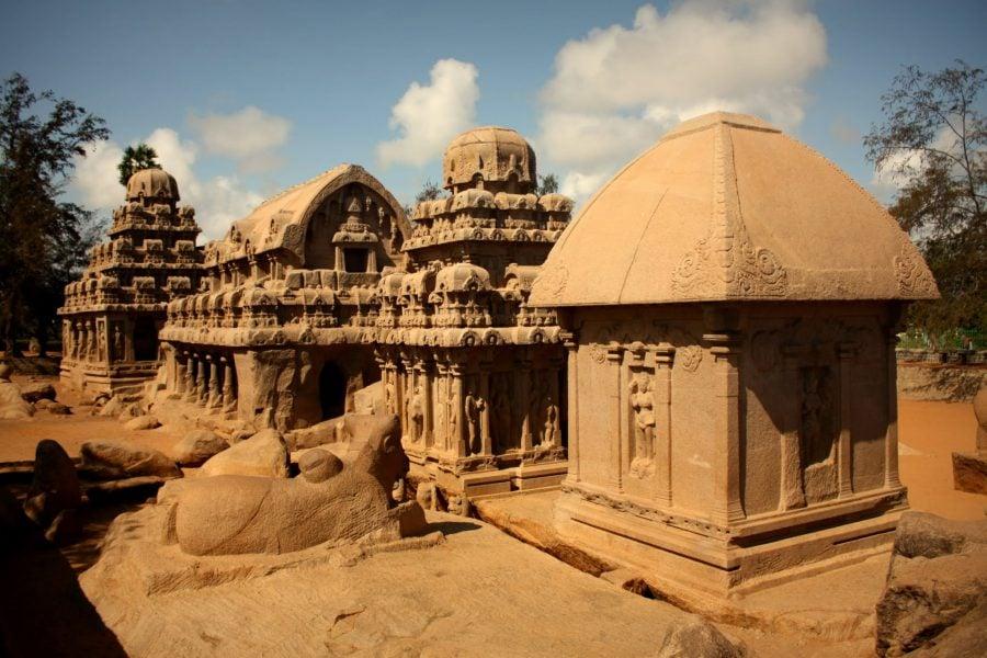 Cele cinci Rathas, rocă sculptată, Mamallapruram, Tamil Nadu, India