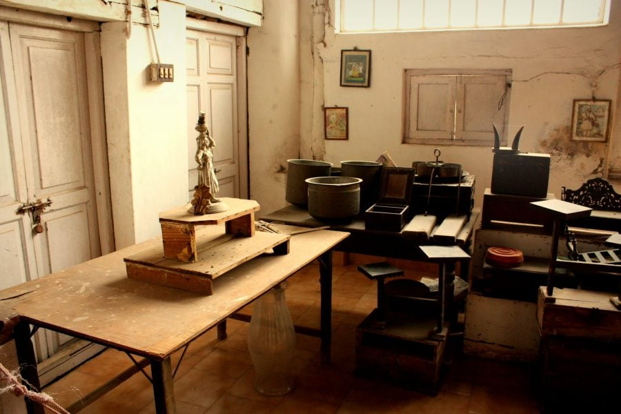 Exponate din Muzeul Paltului Regal din Thanjavur, Tamil Nadu, India