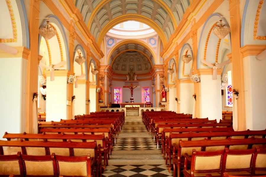 Notre-Dame des Anges, interior, Pondicherry (Puducherry), Tamil Nadu, India