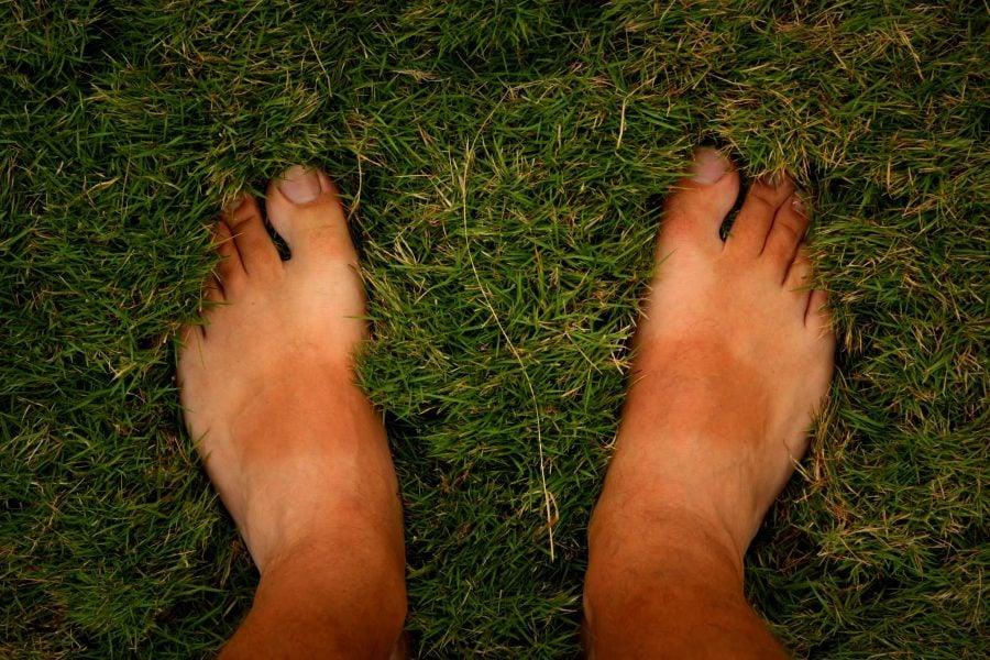 Picioare fericite în iarbă moale, Pondicherry (Puducherry), Tamil Nadu, India