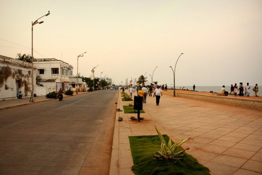 Promenada din Pondicherry (Puducherry), Tamil Nadu, India