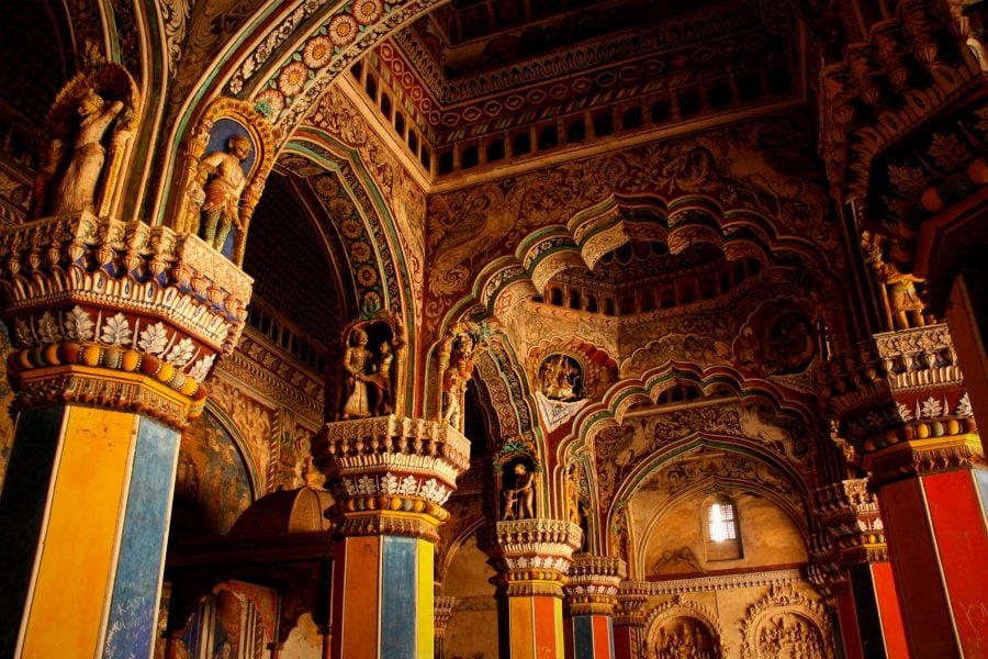 Sala tronului, Durbar Hall, Palatul Regal din Thanjavur, Tamil Nadu, India