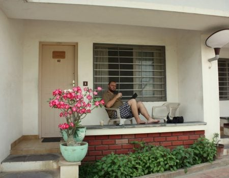 Hotel Sri Aurobindo Ashram Park Guest House - veranda, Pondicherry, Tamil Nadu, India