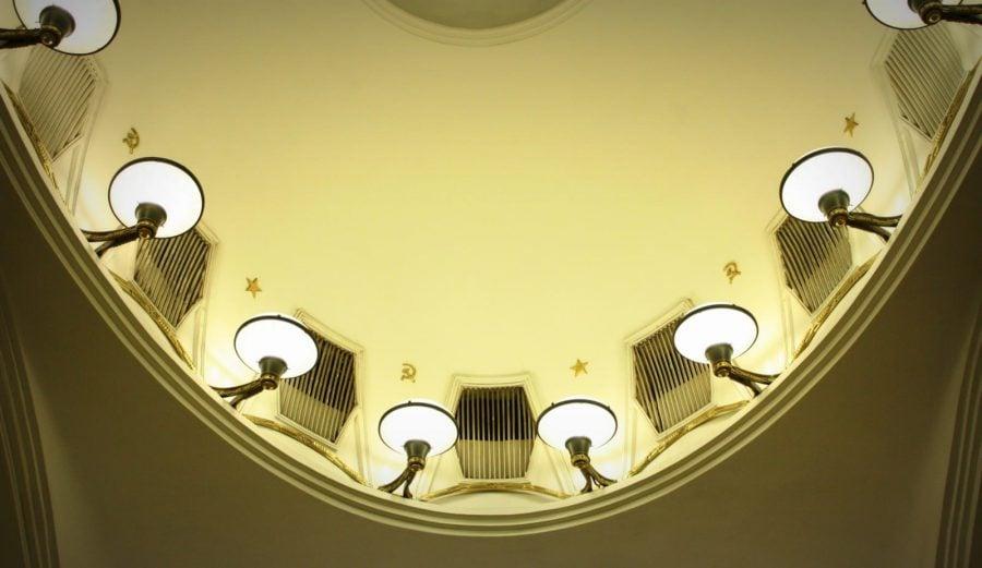 Lumini în metrou Mayakovskaya, Moscova