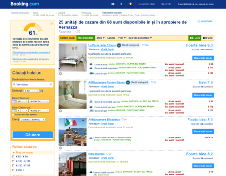Căutare pe booking.com