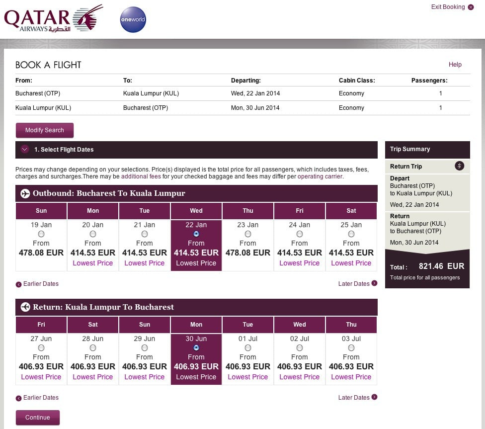 Qatar Airways cautare zbor