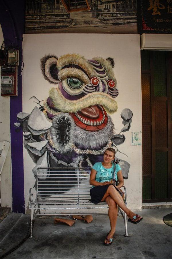 Penang Street Art - Dragon la poartă