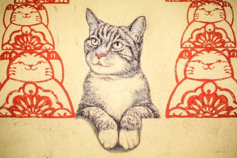 Penang Street Art - Pisică gri
