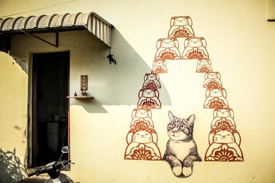 Penang Street Art - Pisică la templu