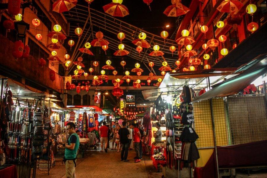 Strada Petaling noaptea (Kuala Lumpur)