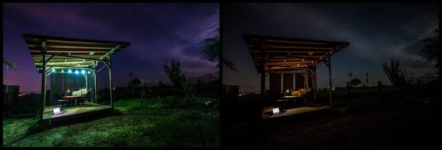 Foișor de lemn noaptea