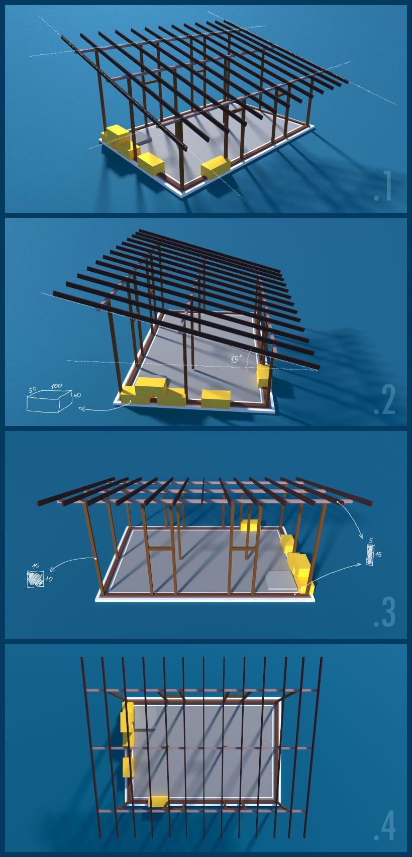Randare 3d structura de lemn casa de paie