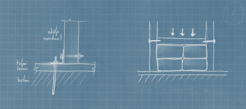 Schita de mana ancore beton si grinzi orizontale