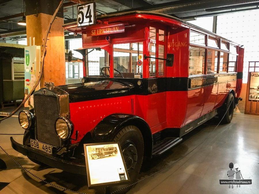 Autobuz roșu în Muzeul Transportului, Stockholm