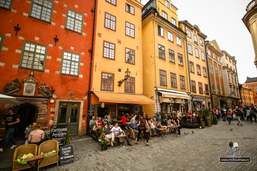 Terase pline de turiști, Stockholm
